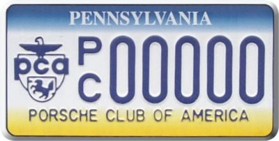 Pennsylvania PCA License Plate